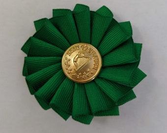 Irish Cockade - Erin Go Braugh - Society of United Irishmen - Ireland - Pleated