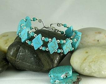 Turquoise Diamond Bracelet - Aztec - Native American Cuff