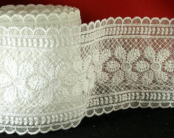 "Sheer Embriodered Trim - 3 1/4"" White - Renaissance Faire - Victorian"