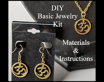 DIY Om Jewelry Kit - Ohm - Aum - Basic Earrings & Necklace - Beginner