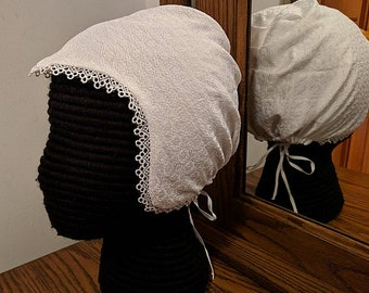 Black or White Embroidered Elizabethan Coif with Lace - Renaissance