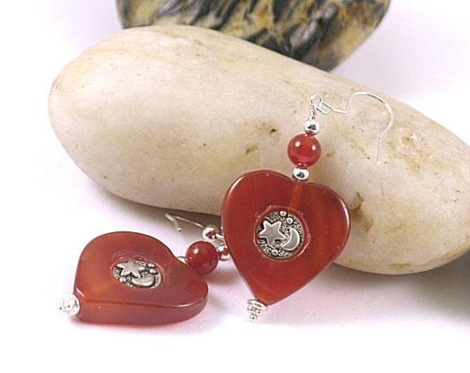 Carnelian Heart with Star - Moon Earrings