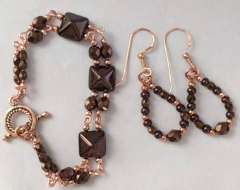 Set of Copper & Bronze Czech Beads - Earrings and Necklace - Boho