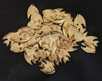Bulk Bag of Gold Plated Metal Fish Charms - Jewelry Pendants