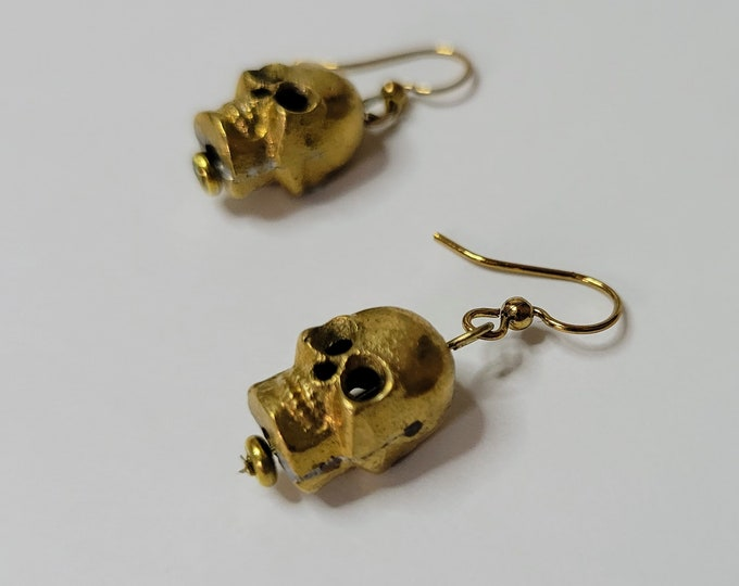 Gold Skull Dangle Drop Earrings - Pirate Skull Earrings - Gothic Earrings