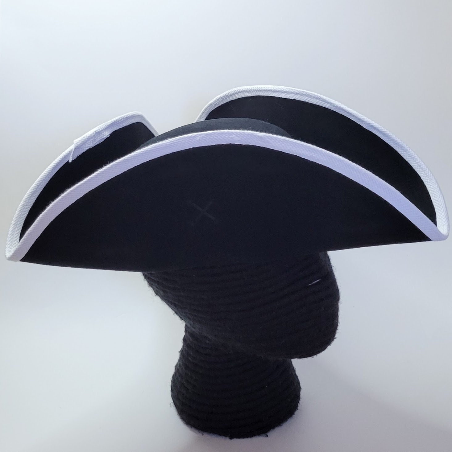 Edge Trimmed Tricorn Carolean Felt Hat Colonial Tricorne