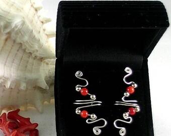 Silver and 2 Coral Vine Ear Cuff - Sacred Spirals