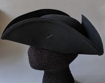 Field Officer's Tricorn - Colonial Black Trim Hat - Military Tricorne