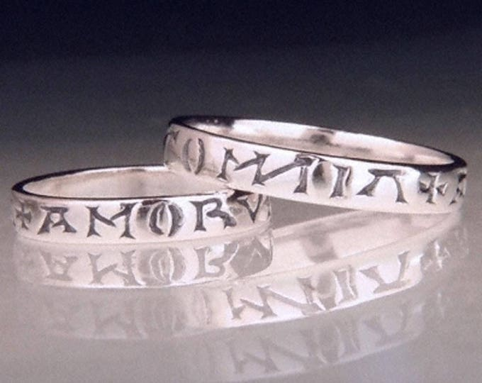 Vintage Love Conquers All Silver Poesy Ring - Latin - Chaucer Virgil