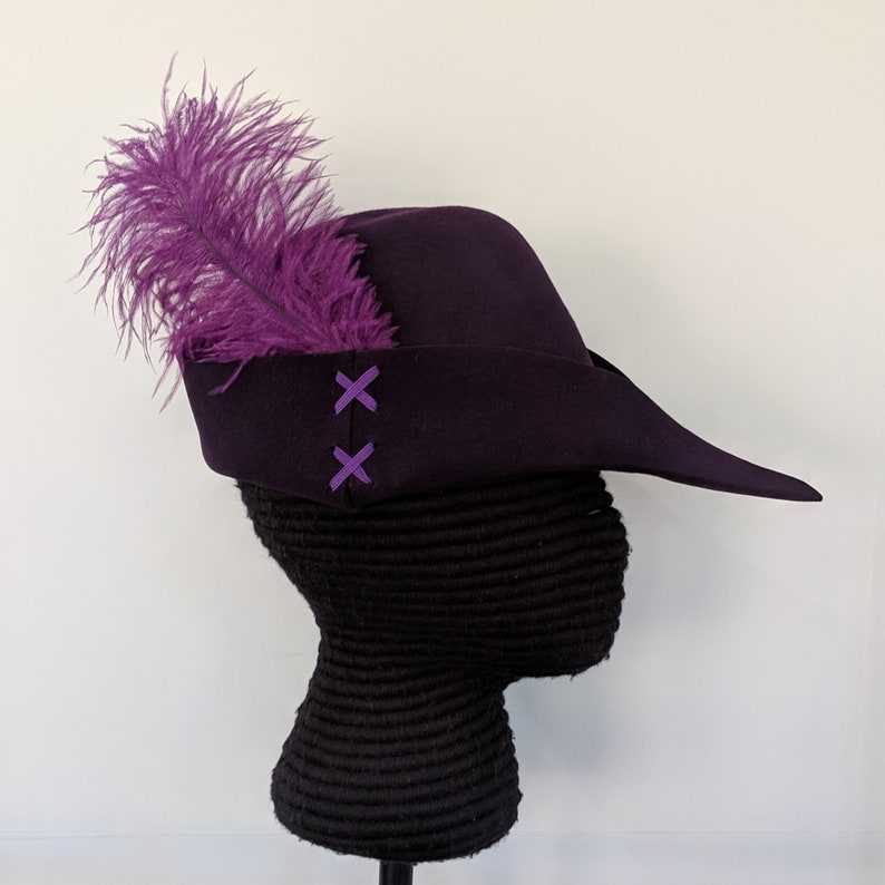 387d5d3da22 Purple Felt Bycocket Laced Gothic Hat Hunter s Cap