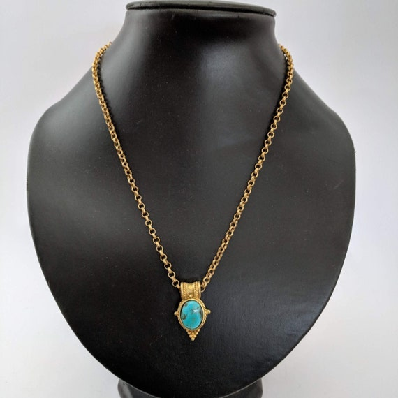 Vintage Turquoise Egyptian Revival Pendant with Ch