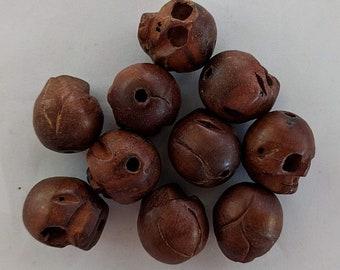 Ten Carved Wooden Skull Beads - Paternoster - Gothic - Memento Mori