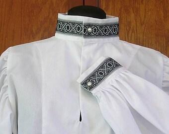 In Stock! Rapier Shirt Blackwork Collar - Gipsy Peddler SCA Fencing Armor