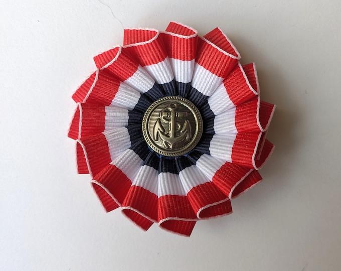 American Patriotic Cockade Red White Blue - Navy - Naval Cockade