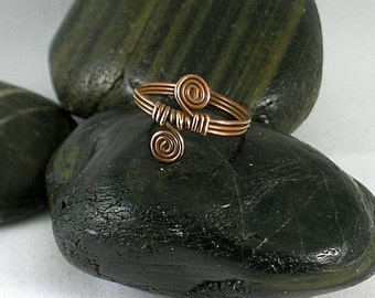 Double Sacred Spiral Wire Wrapped Copper Ring