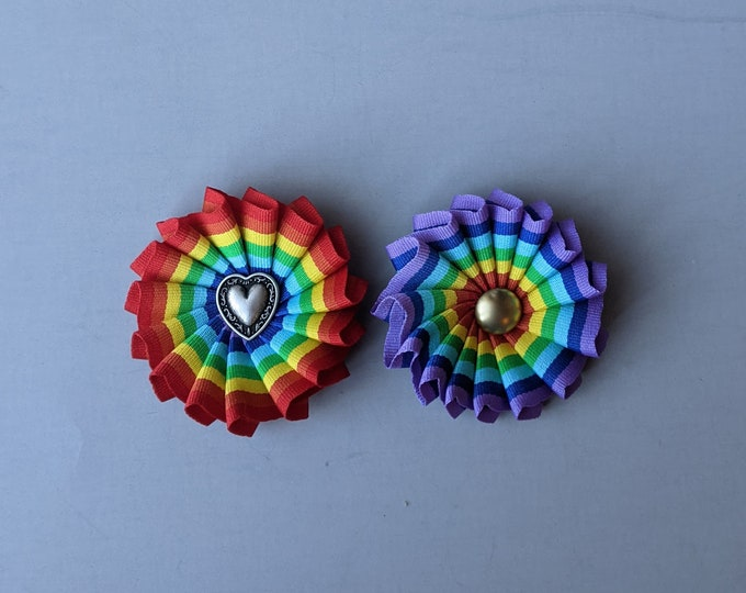 New! Small Pleated Rainbow Cockade for Hat or Clothing - LGBTQ Pride Ribbon