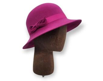 Magenta Pink Wool Felt Cloche with Hatband - Winter Cloche - Wool Cloche - 1920s Cloche - Flapper Hat - Handmade Cloche Hat