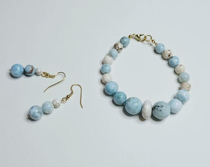 Larimar and Magnesite Bracelet Earring Set - Gemstone Jewelry Set - Larimar Bracelet and Earrings