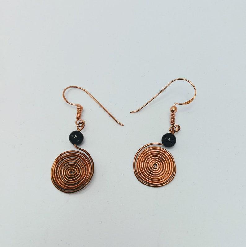 Sacred Spiral Earrings  Obsidian Bead  Celtic  Egyptian  image 0
