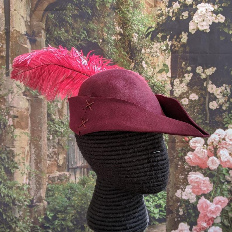 Laced Gothic Hat Hunter/'s Cap SCA Robin Hood Hat Burgundy Felt Bycocket