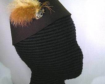Felt Hat with Feathers - Gothic - Italian Renaissance - SCA - Ren Faire
