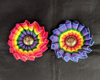 Small Pleated Rainbow Cockade for Hats or Clothing - Pride Ribbon