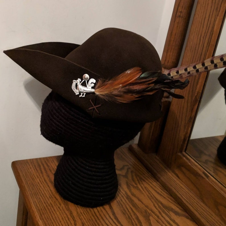 828a6628b4b Cocky Rooster Brown Bycocket Pheasant Felt Cap SCA Robin