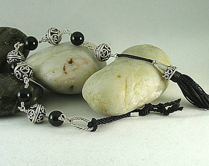 Onyx and Silver Tenner with Cone Tassel - Chaplet - Paternoster