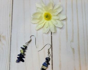 Lapis Lazuli Stacks Dangle Drop Earrings - Healing Crystal Earrings -  Lapis Stone Earrings