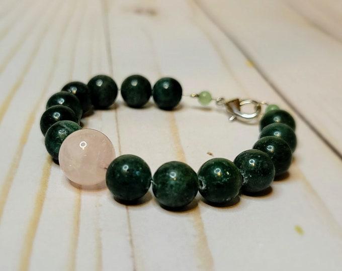 Jade and Rose Quartz Beaded Bracelet - Healing Bracelet - Luck and Love Bracelet - Stone Bracelet