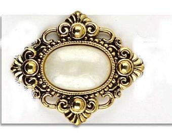 HUGE MOP and Antique Gold Shank Button - Renaissance - Victorian