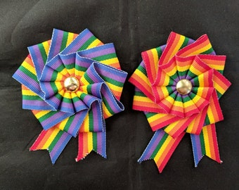 Small Folded Rainbow Cockade for Hats or Clothing - Pride Ribbon