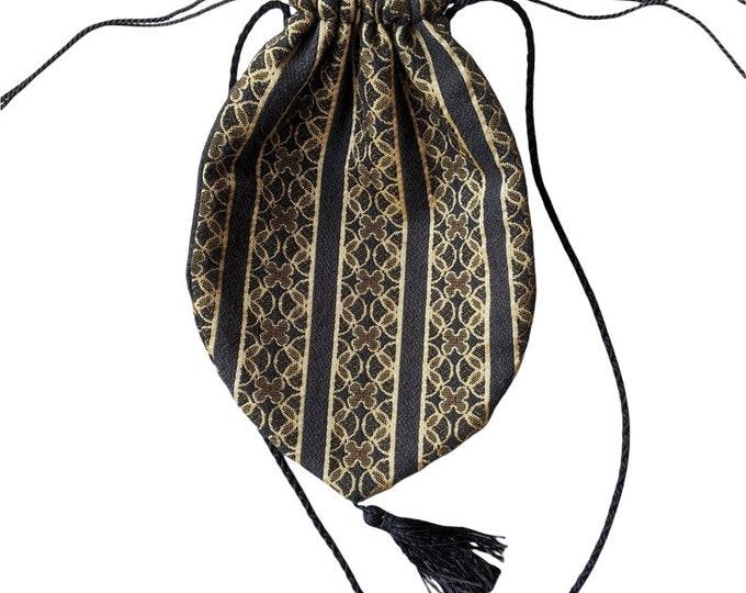 Vintage Gold and Black Brocaded Shoulder Purse - Drawstring Pouch