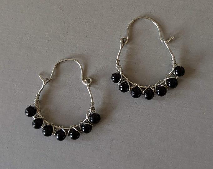 Wire Wrapped Black Obsidian Hoops -  Dragon Glass Earrings