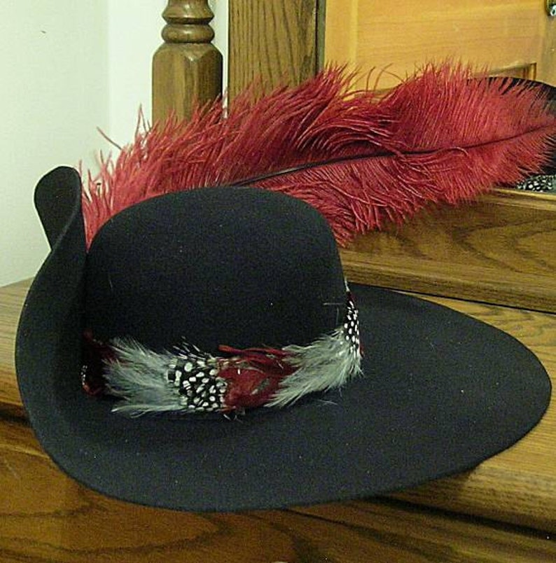 96eb5341a64 Black Felt Cavalier Hat Brooch Feather Hatband Ostrich