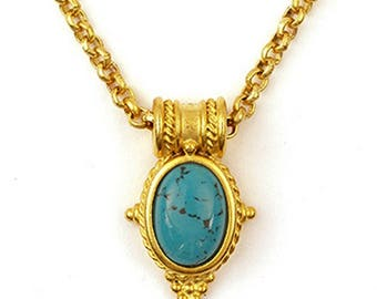 Turquoise Egyptian Revival Pendant with Chain - Victorian - Egyptian