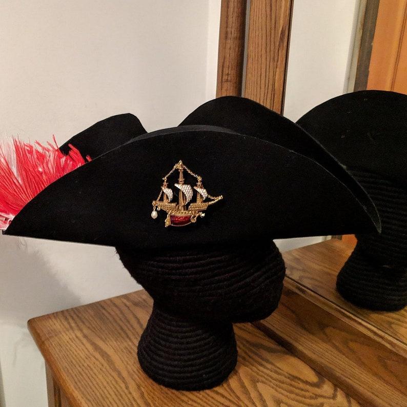 Wool Felt Tricorn Military Hat Naval S//M