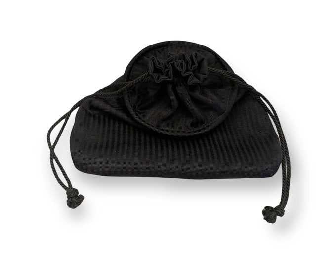In Stock! Black Fabric Drawstring Hoop Belt Pouch Bag - Renaissance