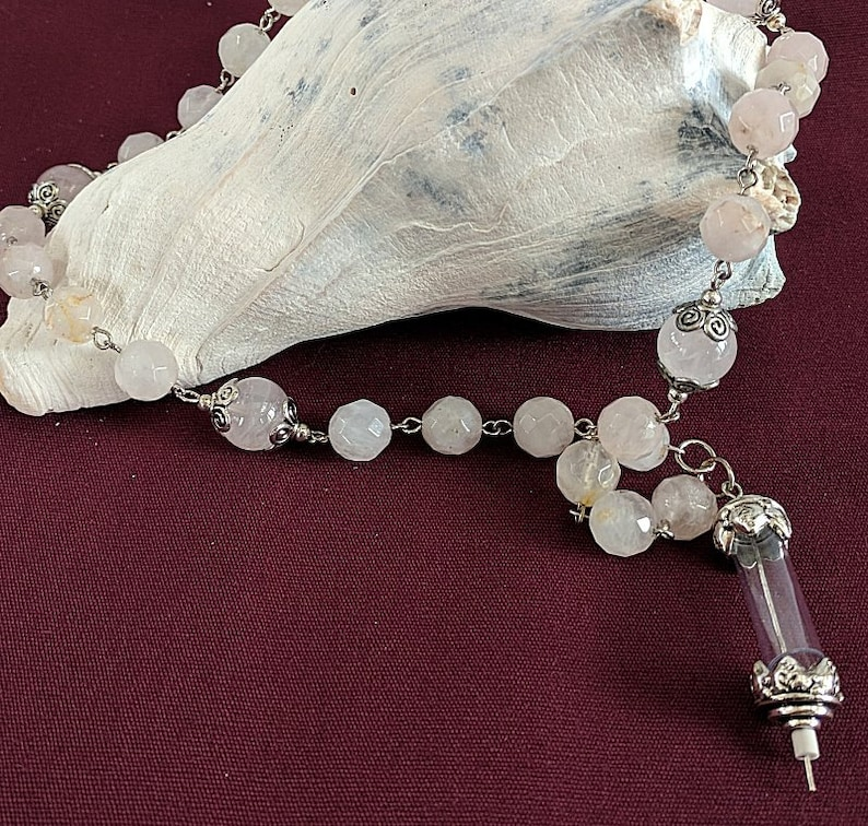 Relic Connector on a Rose Quartz Chaplet Paternoster Rosary image 0