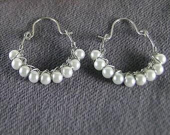 Wire Wrapped Pearl Hoops - Renaissance Earrings