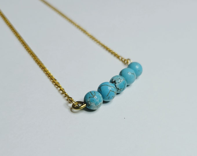 Turquoise Beaded Bar Necklace - Turquoise Bead Necklace - Mother's Day Necklace - Turquoise Healing Necklace
