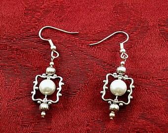 Framed Pearl Dangles #2 - Renaissance Earrings