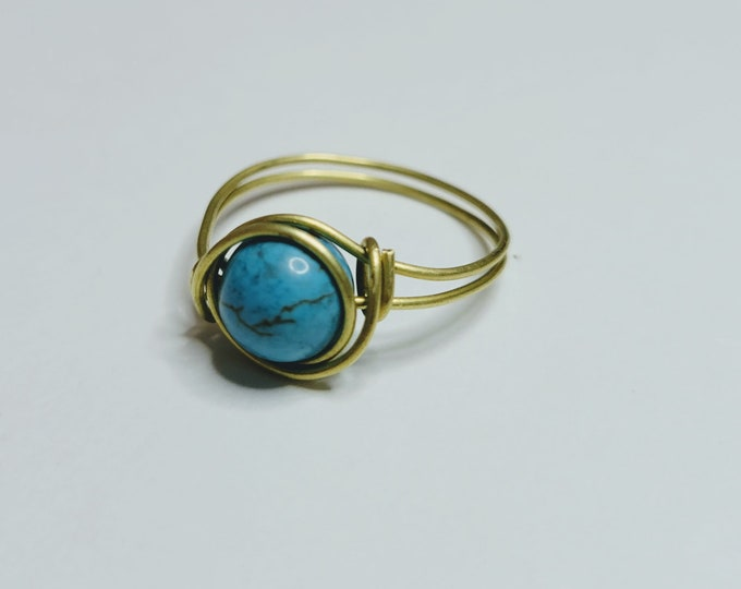 Turquoise Bead Ring - Wire Wrapped Ring - Wire Turquoise Ring