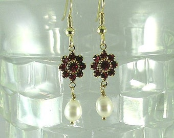 Freshwater Pearls and Ruby Swarovski Crystal Earrings