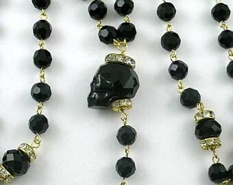 Black Swarovski Crystal Skull Rosary - Credo Cross - Memento Mori