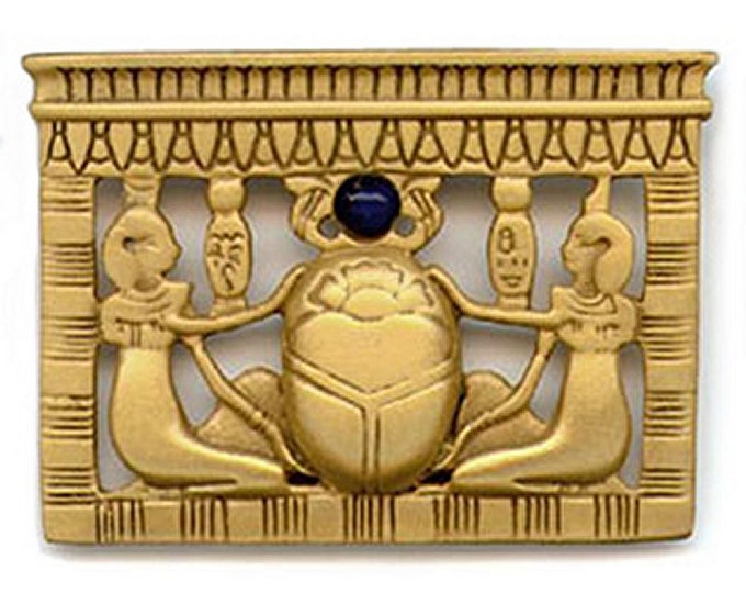 Vintage King Tut Brooch - Egyptian Scarab Pectorial - Sun God - Eternal Life