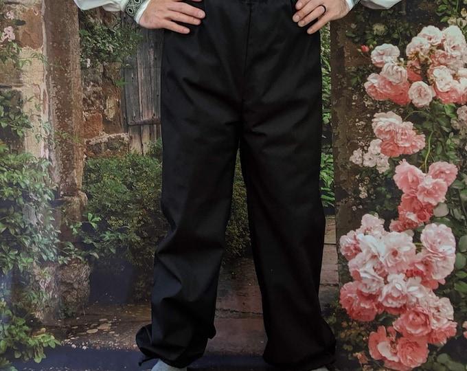 In Stock! SCA Trews - Basic Drawstring Fencing Pants - Rapier - Renaissance Fair