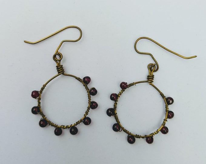 Garnet Beads Wire Wrapped on Handmade Bronze Hoops