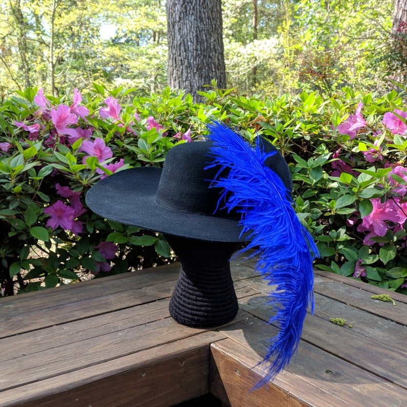 d02d2a0188e Cavalier Hat Circle Brooch Ostrich Feather Black Felt