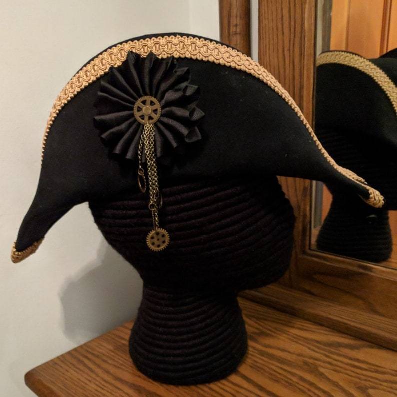 617b8aa2120 Steampunk Bicorne with Gold Trim American Cocked Hat War